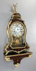 Decorative Arts, French, A FRENCH LENOIR BOULLE CLOCK ON BRACKET SHELF . Raymond Lenoir,Paris, France, 19th century. Marks: Lenoir, A. Paris. 43-1/2...(Total: 3 Items)