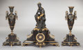 Sculpture, A THREE PIECE BRONZE FIGURAL MANTEL CLOCK . Circa 1900. 23 inches high (58.4 cm). Estate of Gerry Lane, Baton Rouge, Louis... (Total: 3 Items)