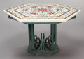 Furniture : Continental, A CONTINENTAL MARBLE PIETRA DURA INLAID TABLE ON WROUGHT METALBASE. Early 20th century. 22-1/2 inches high x 36 inches diam...(Total: 2 Items)