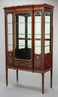Furniture : English, A LOUIS XVI-STYLE MAHOGANY, MOTHER-OF-PEARL INLAID AND GILT METAL MOUNTED PARTIALLY PAINTED VITRINE WITH ROUGE MARBLE TOP. C...