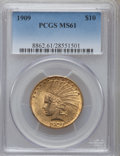 Indian Eagles: , 1909 $10 MS61 PCGS. PCGS Population (260/1102). NGC Census:(647/814). Mintage: 184,700. Numismedia Wsl. Price for problem ...