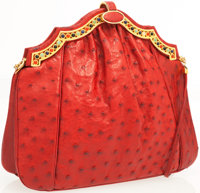 Judith Leiber Red Ostrich Clutch Bag with Cabochon Stones and Shoulder Strap