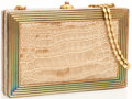 Luxury Accessories:Accessories, Judith Leiber Crocodile Cream and Gold Rectangular Box Clutch Bag. ...