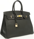 Luxury Accessories:Bags, Hermes 35cm Black Ardennes Leather Birkin Bag with Gold Hardware. ...