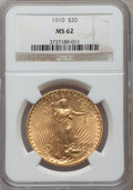 Saint-Gaudens Double Eagles: , 1910 $20 MS62 NGC. NGC Census: (3365/3377). PCGS Population(2203/3678). Mintage: 482,000. Numismedia Wsl. Price for proble...