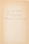 Autographs:U.S. Presidents, Edith Roosevelt Inscribed Book Signed....