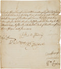 Autographs:Non-American, George Byng, 1st Viscount Torrington, Partial Document Signed...