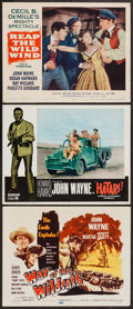 "Movie Posters:Adventure, John Wayne in Reap the Wild Wind & Others Lot (Paramount,R-1954). Lobby Cards (2) & Title Lobby Card (11"" X 14"").Adventure... (Total: 3 Items)"