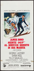 "Movie Posters:James Bond, On Her Majesty's Secret Service (United Artists, 1969). ItalianLocandina (13"" X 27.5""). James Bond.. ..."