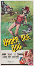 "Movie Posters:Crime, Undersea Girl (Allied Artists, 1957). Three Sheet (41"" X 78"").Crime.. ..."
