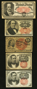 Fractional Currency:Fifth Issue, Fourth and Fifth Issue Fractionals Very Good or Better.. ...(Total: 5 notes)