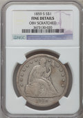 Seated Dollars: , 1859-S $1 -- Obverse Scratched -- NGC Details. Fine. NGC Census:(6/122). PCGS Population (9/198). Mintage: 20,000. Numisme...