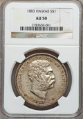 Coins of Hawaii, 1883 $1 Hawaii Dollar AU50 NGC. NGC Census: (25/172). PCGSPopulation (61/193). Mintage: 500,000....