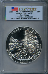 2010 25C Grand Canyon Five-Ounce Silver, First Strike MS66 Deep Mirror Prooflike PCGS. PCGS Population (21/1719). NGC Ce...