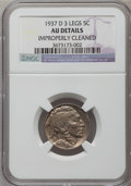 Buffalo Nickels: , 1937-D 5C Three-Legged -- Improperly Cleaned -- NGC Details. AU.NGC Census: (197/3876). PCGS Population (577/2961). Mintag...
