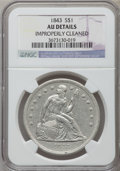 Seated Dollars: , 1843 $1 -- Improperly Cleaned -- NGC Details. AU. NGC Census:(49/225). PCGS Population (70/182). Mintage: 165,100. Numisme...