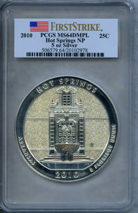 2010 25C Hot Springs Five-Ounce Silver, First Strike MS64 Deep Mirror Prooflike PCGS. PCGS Population (22/4124). NGC Cen...