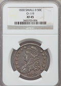 Bust Half Dollars, 1830 50C Small 0 XF45 NGC. O-119. NGC Census: (213/1321). PCGSPopulation (221/1060). Mintage: 4,764,800. Numismedia Wsl. P...