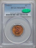 Indian Cents, 1908-S 1C MS65 Red and Brown PCGS. CAC....