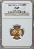 Commemorative Gold: , 1926 $2 1/2 Sesquicentennial MS64 NGC. NGC Census: (2777/1241).PCGS Population (4168/2047). Mintage: 46,019. Numismedia Ws...