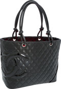 Luxury Accessories:Accessories, Chanel Black Quilted Lambskin Leather Cambon Tote Bag. ...