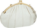 Luxury Accessories:Accessories, Judith Leiber White Snakeskin Large Clutch Bag with Shoulder Strap. ...