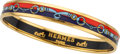 Luxury Accessories:Accessories, Hermes 65mm Red & Blue Enamel Bangle Bracelet with Gold Hardware. ...
