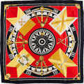 """Luxury Accessories:Accessories, Hermes Gold, Red & Black """"Sextants,"""" by Loic Dubigeon Silk Scarf. ..."""
