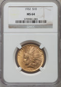 Indian Eagles, 1932 $10 MS64 NGC....