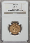 Liberty Half Eagles: , 1895-S $5 AU55 NGC. NGC Census: (70/122). PCGS Population (23/39). Mintage: 112,000. Numismedia Wsl. Price for problem free...