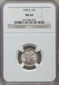 1905-S 10C MS64 NGC. NGC Census: (26/15). PCGS Population (56/32). Mintage: 6,855,199. Numismedia Wsl. Price for problem...