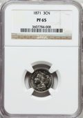 Proof Three Cent Nickels: , 1871 3CN PR65 NGC. NGC Census: (121/42). PCGS Population (99/30).Mintage: 960. Numismedia Wsl. Price for problem free NGC/...