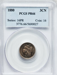 1880 3CN PR66 PCGS. PCGS Population (221/40). NGC Census: (217/53). Mintage: 3,955. Numismedia Wsl. Price for problem fr...