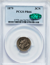1879 3CN PR66 PCGS. CAC. PCGS Population (183/43). NGC Census: (181/62). Mintage: 3,200. Numismedia Wsl. Price for probl...