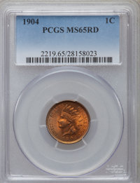 1904 1C MS65 Red PCGS. PCGS Population (235/69). NGC Census: (126/26). Mintage: 61,328,016. Numismedia Wsl. Price for pr...