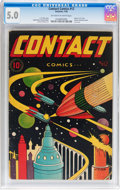 Golden Age (1938-1955):Science Fiction, Contact Comics #12 (Aviation Press, 1946) CGC VG/FN 5.0 Off-whiteto white pages....