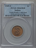 Indian Cents, 1909-S 1C MS63 Red and Brown PCGS....