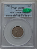Indian Cents, 1909-S 1C MS62 Brown PCGS. CAC....