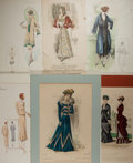 Books:Prints & Leaves, [Fashion]. Group of Six Hand-Colored Late Nineteenth and EarlyTwentieth Century French Fashion Illustrations. Various sizes...