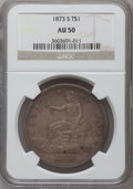 Trade Dollars: , 1873-S T$1 AU50 NGC. NGC Census: (2/88). PCGS Population (12/138).Mintage: 703,000. Numismedia Wsl. Price for problem free...