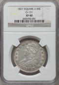 Bust Half Dollars, 1827 50C Square Base 2 XF40 NGC. O-131. NGC Census: (110/1516).PCGS Population (191/1587). Mintage: 5,493,400. Numismedia ...