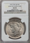 Peace Dollars, 1922 $1 VAM-2C2, Extra Hair AU58 NGC. TOP-50. NGC Census: (18/59).PCGS Population (50/104)....