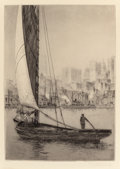 Prints, JOHN TAYLOR ARMS (American, 1887-1953). The Sarah Jane, New York, 1920. Etching with aquatint. 10-1/4 x 7-1/4 inches (26... (Total: 2 Items)