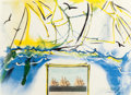 Fine Art - Work on Paper:Print, SALVADOR DALÍ (Spanish, 1904-1989). American Yachting Scene,Currier and Ives Series, 1971. Color lithograph and collage...(Total: 2 Items)