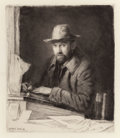 Fine Art - Work on Paper:Print, MUIRHEAD BONE (British, 1876-1953). Self Portrait, 1908. Drypoint etching on paper. 5-7/8 x 5-1/8 inches (14.9 x 13.0 cm... (Total: 2 Items)