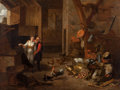Fine Art - Painting, European:Antique  (Pre 1900), Circle of MATHEUS VAN HELMONT (Flemish, 1623-1679). PeasantCouple in an Interior with a Kitchen Still Life, circa 1670s...