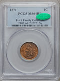 Indian Cents, 1871 1C MS64 Red and Brown PCGS. CAC....