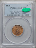 Indian Cents, 1870 1C MS64+ Red and Brown PCGS. CAC. Snow-38....