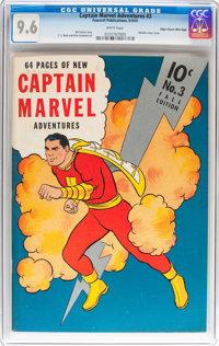 Captain Marvel Adventures #3 Mile High pedigree (Fawcett Publications, 1941) CGC NM+ 9.6 White pages