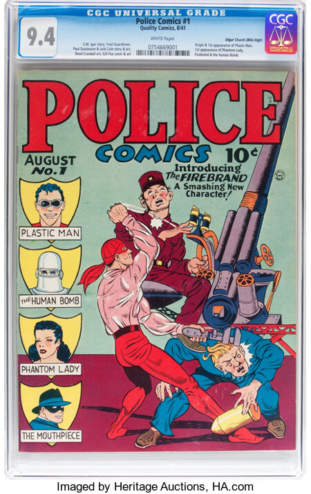 Police Comics #1 Mile High pedigree (Quality, 1941) CGC NM 9.4 White pages....